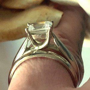White Gold, Tiffany Design Wedding Rings, CZ Stone